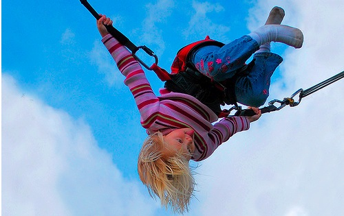 girl on trampoline narrow