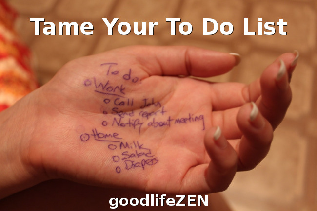 Tame Your To Do List: Hand with writing on