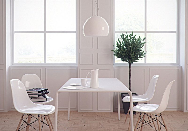 minimalism - white dining chairs and table
